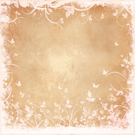 vintage grunge background: Decorative floral grunge with butterflies Stock Photo
