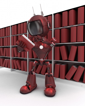 3D Render of an Android at bookshelf photo