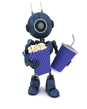 3D Render of an Android with popcorn and soda photo