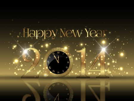 Decorative Happy New Year background with a clock design