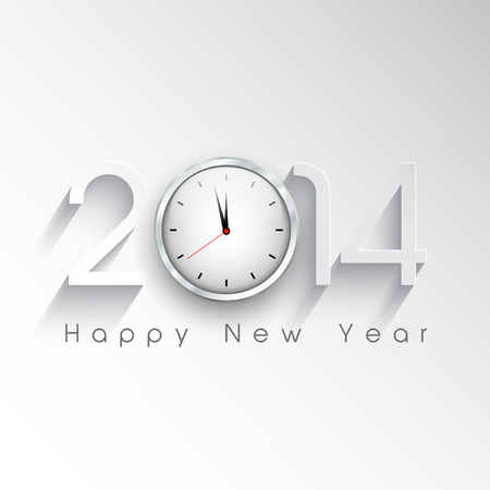 Happy New Year background with a clock design