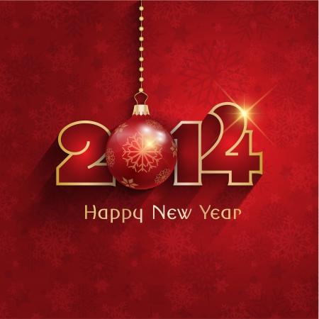 nouvel an: Happy New Year fond avec une boule de suspension