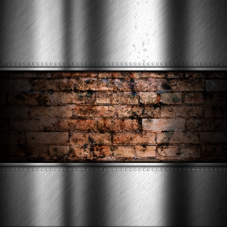 Brushed metal background with old grunge brick Stock Photo - 25204463