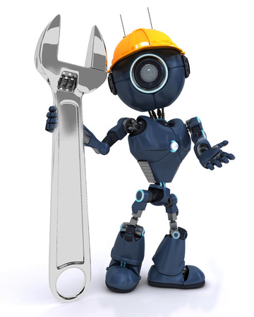 Render of a Builder robot with a wrench photo