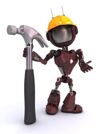3D Render of a robot with hammer photo