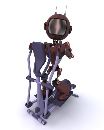 crosstrainer: 3D render of a robot at the gym on a cross trainer