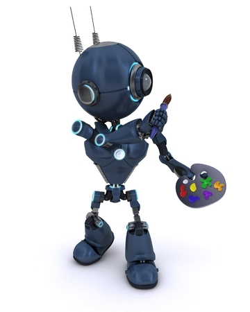 3D Render of an Android with paint brush and palette photo