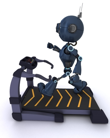 3D render of an Andriod at the gym running on a treadmill photo