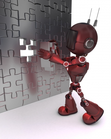 3D Render of an Android with jigsaw puzzle   photo