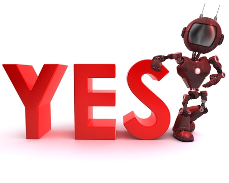 3D Render of an Android with yes sign   photo
