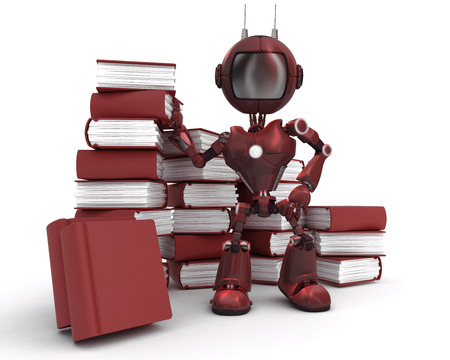 3D Render of an Android at with stack of books photo