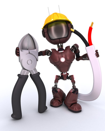 wire cutters: 3D Render of an android Builder with wire cutters