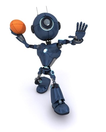 3D Render of robot playing American Football photo