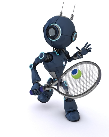 3D Render of robot playing tennis photo