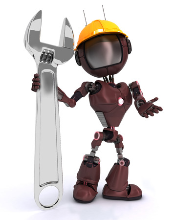 Render of an Builder robot with a wrench photo
