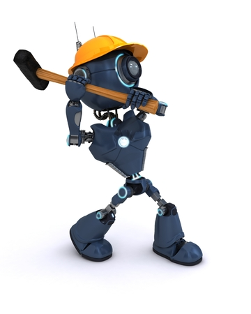 sledgehammer: 3D Render of an android Builder with a sledgehammer