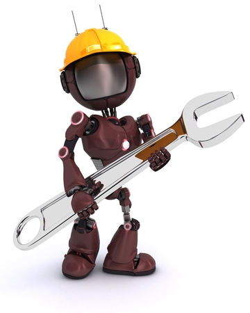 Render of an android Builder with a wrench photo
