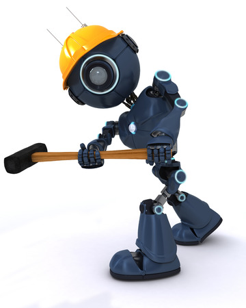 sledgehammer: 3D Render of robot Builder with a sledgehammer Stock Photo