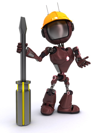 3D Render of a Robot Builder with a screwdriver photo