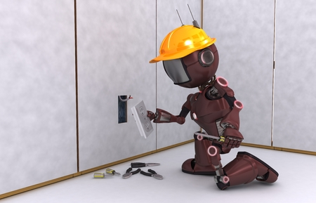 3D Render of an Android electrician photo