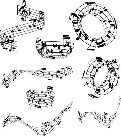pentagrama musical: Colección de notas de música en varios diseños abstractos