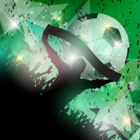 Silhouette of a group of football supporters on an abstract background photo