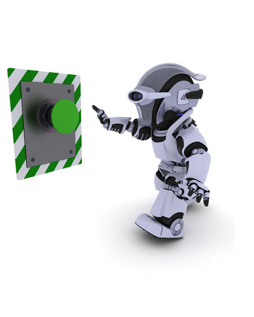 3D Render of a Robot pushing a button photo