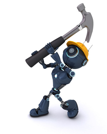 3D Render of an Android with hammer photo