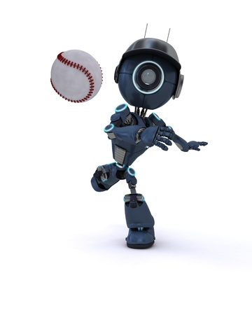 3D Render of an Android playing baseball photo