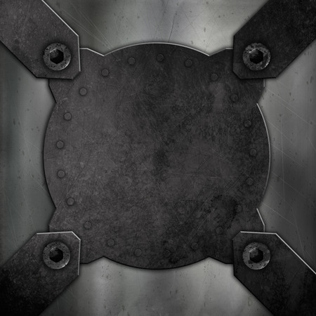 dint: Abstract background with a grunge metal effect with screws and rivets