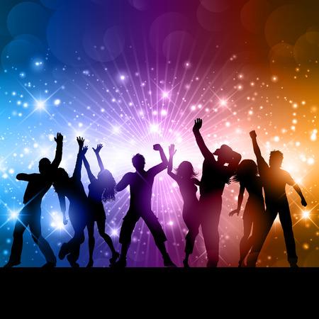 silueta hombre: Siluetas de personas bailando en un fondo abstracto