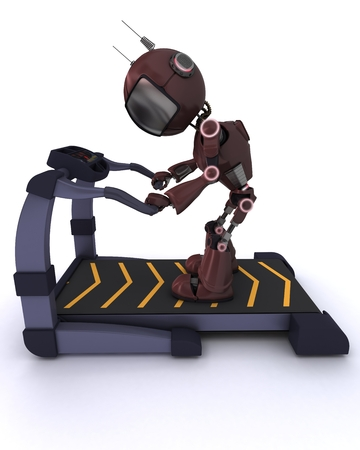 3D render of a robot at the gym running on a treadmill photo