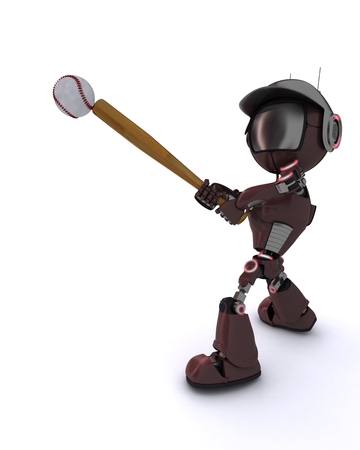 3D Render of a robot playing baseball photo