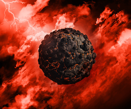 stormy sky: 3D render of a volcanic globe with in a stormy sky with lightening