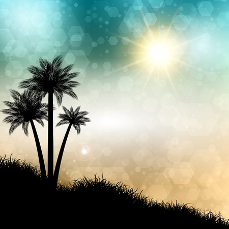 palm tree silhouette: Abstract summer background with palm trees silhouettes