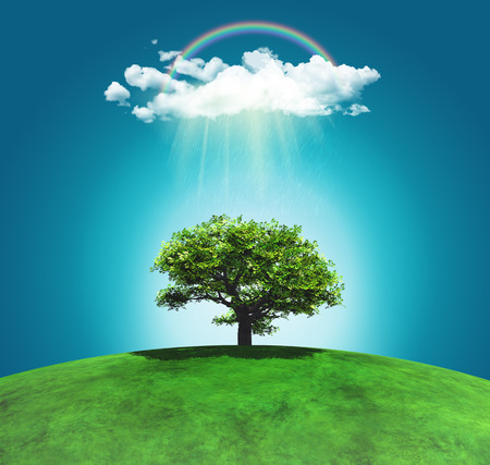 3D render of a grassy curved landscape with a tree, rainbow and raincloud