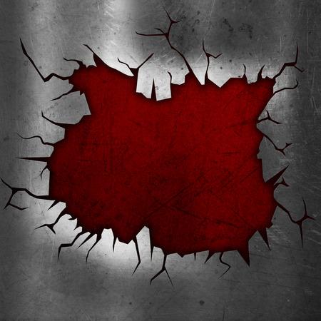 underlay: Cracked metallic background with red grunge underlay