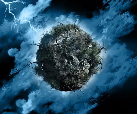 climate change: 3D render of a globe with dead trees and bushes in a stormy sky with lightening