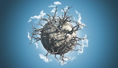 arboles secos: 3D render de un planeta abstracto cubierto de árboles muertos en una escena espacial