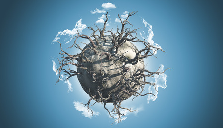 dead trees: 3D render of an abstract planet covered with dead trees in a space scene