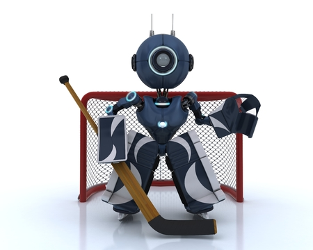 3D Render of an Android playing ice hockey photo