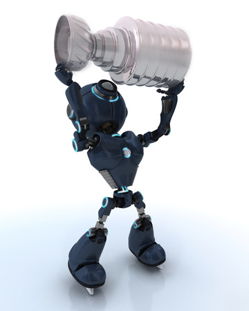3D Render of an Android ice hockey champion photo