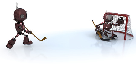 3D Render of  Androids playing ice hockey  photo