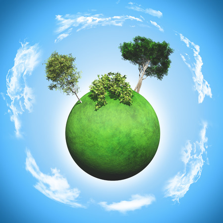 3D render of a grassy glove with trees, bushes and clouds
