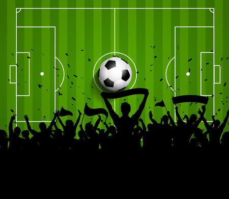 Soccer or football crowd on a green pitch background photo