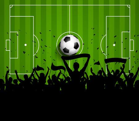 banni�re football: Soccer ou de football foule sur un terrain fond vert Banque d'images