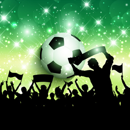 soccer background: Silhouette of a football or soccer crowd background