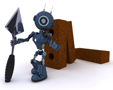 3D Render of an Android with bricks and trowel photo