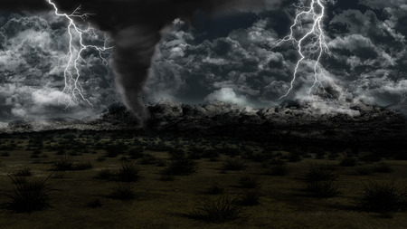 cyclone: 3D landscape with stormy sky, lightning and twister
