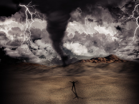 whirlwind: Silhouette of a man stood in the desert in the middle of a storm with tornado and lightning